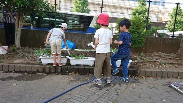 子どもにとっては花壇の水やりも遊びのひとつ!?