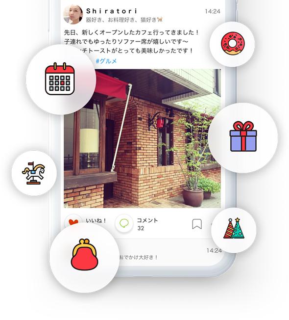 『ピアッツァ』アプリ内イメージ。地域のお店や病院、イベントの情報効果がんできるほか、ご近所さんに質問したいことなどが気軽に投稿できる。