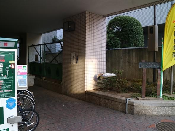 駐輪場右の植え込みに、よく見ると看板が!
