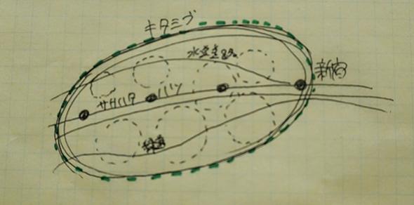 清水さんが話しながらサラサラっと描いてくれた「北渋」のイメージ図。