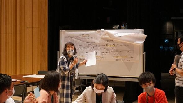 LINE CUBE SHIBUYA会場での「地域イベント・文化・歴史・芸術」グループの発表。音楽イベントや「農」に関連した祭りの開催などの意見が出ました。