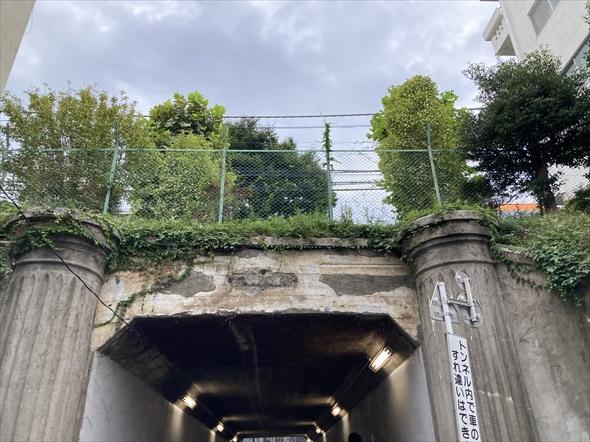 京王バスの「宿41/45」系統の「本町一丁目」バス停付近、水道道路の下にあるトンネルです。大正時代に竣工されたそうで、歴史を感じされる佇まいが。